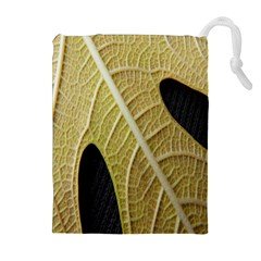 Yellow Leaf Fig Tree Texture Drawstring Pouches (Extra Large)