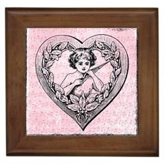 Heart Drawing Angel Vintage Framed Tiles