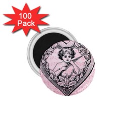 Heart Drawing Angel Vintage 1.75  Magnets (100 pack)