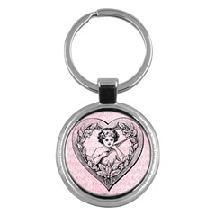 Heart Drawing Angel Vintage Key Chains (Round)
