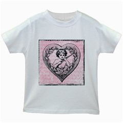 Heart Drawing Angel Vintage Kids White T-Shirts