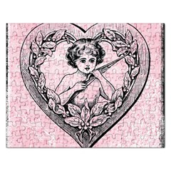 Heart Drawing Angel Vintage Rectangular Jigsaw Puzzl