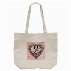 Heart Drawing Angel Vintage Tote Bag (Cream)