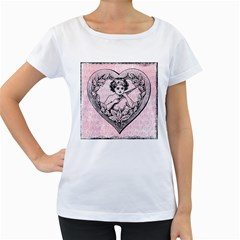 Heart Drawing Angel Vintage Women s Loose-Fit T-Shirt (White)