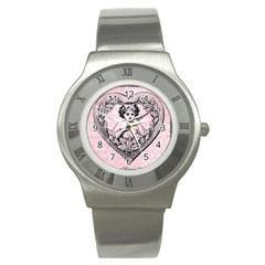 Heart Drawing Angel Vintage Stainless Steel Watch