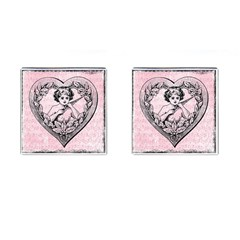 Heart Drawing Angel Vintage Cufflinks (Square)