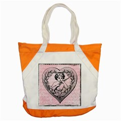 Heart Drawing Angel Vintage Accent Tote Bag