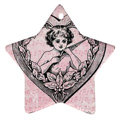 Heart Drawing Angel Vintage Star Ornament (Two Sides)