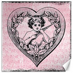 Heart Drawing Angel Vintage Canvas 12  X 12