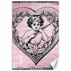 Heart Drawing Angel Vintage Canvas 12  X 18