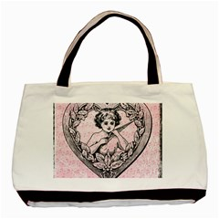Heart Drawing Angel Vintage Basic Tote Bag (Two Sides)