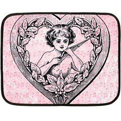 Heart Drawing Angel Vintage Double Sided Fleece Blanket (Mini)