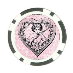Heart Drawing Angel Vintage Poker Chip Card Guard (10 pack)