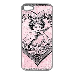 Heart Drawing Angel Vintage Apple iPhone 5 Case (Silver)