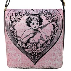 Heart Drawing Angel Vintage Flap Messenger Bag (s)