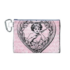 Heart Drawing Angel Vintage Canvas Cosmetic Bag (M)
