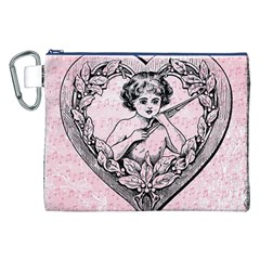 Heart Drawing Angel Vintage Canvas Cosmetic Bag (XXL)