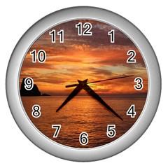 Sunset Sea Afterglow Boot Wall Clocks (Silver)