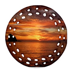 Sunset Sea Afterglow Boot Round Filigree Ornament (Two Sides)