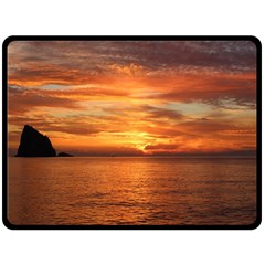 Sunset Sea Afterglow Boot Double Sided Fleece Blanket (large)