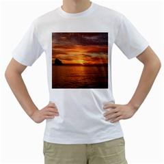 Sunset Sea Afterglow Boot Men s T-Shirt (White)