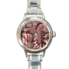 Fractal Abstract Red White Stripes Round Italian Charm Watch