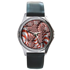 Fractal Abstract Red White Stripes Round Metal Watch