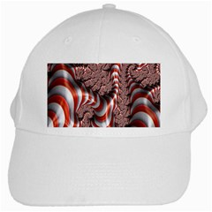 Fractal Abstract Red White Stripes White Cap
