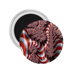 Fractal Abstract Red White Stripes 2.25  Magnets