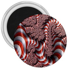 Fractal Abstract Red White Stripes 3  Magnets
