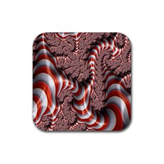 Fractal Abstract Red White Stripes Rubber Square Coaster (4 Pack)
