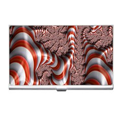 Fractal Abstract Red White Stripes Business Card Holders