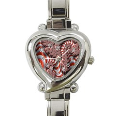 Fractal Abstract Red White Stripes Heart Italian Charm Watch