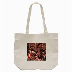 Fractal Abstract Red White Stripes Tote Bag (Cream)