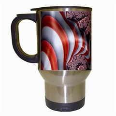 Fractal Abstract Red White Stripes Travel Mugs (white)