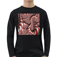 Fractal Abstract Red White Stripes Long Sleeve Dark T Shirts