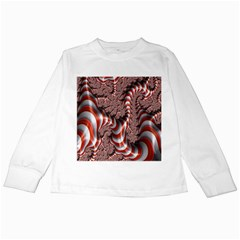 Fractal Abstract Red White Stripes Kids Long Sleeve T-Shirts