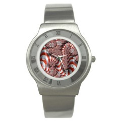 Fractal Abstract Red White Stripes Stainless Steel Watch