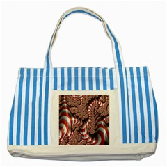 Fractal Abstract Red White Stripes Striped Blue Tote Bag