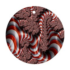 Fractal Abstract Red White Stripes Round Ornament (Two Sides)