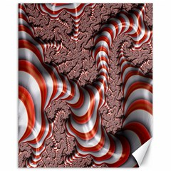 Fractal Abstract Red White Stripes Canvas 16  X 20
