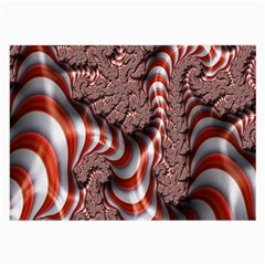 Fractal Abstract Red White Stripes Large Glasses Cloth