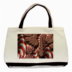Fractal Abstract Red White Stripes Basic Tote Bag (Two Sides)