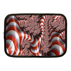 Fractal Abstract Red White Stripes Netbook Case (Medium)