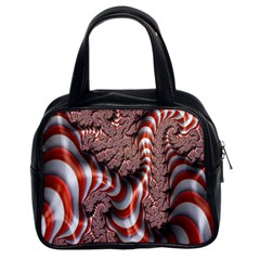 Fractal Abstract Red White Stripes Classic Handbags (2 Sides)