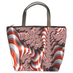 Fractal Abstract Red White Stripes Bucket Bags