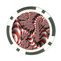 Fractal Abstract Red White Stripes Poker Chip Card Guard (10 pack)
