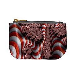 Fractal Abstract Red White Stripes Mini Coin Purses