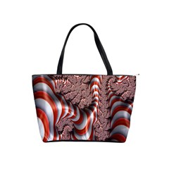Fractal Abstract Red White Stripes Shoulder Handbags