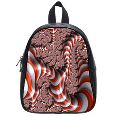 Fractal Abstract Red White Stripes School Bags (small)